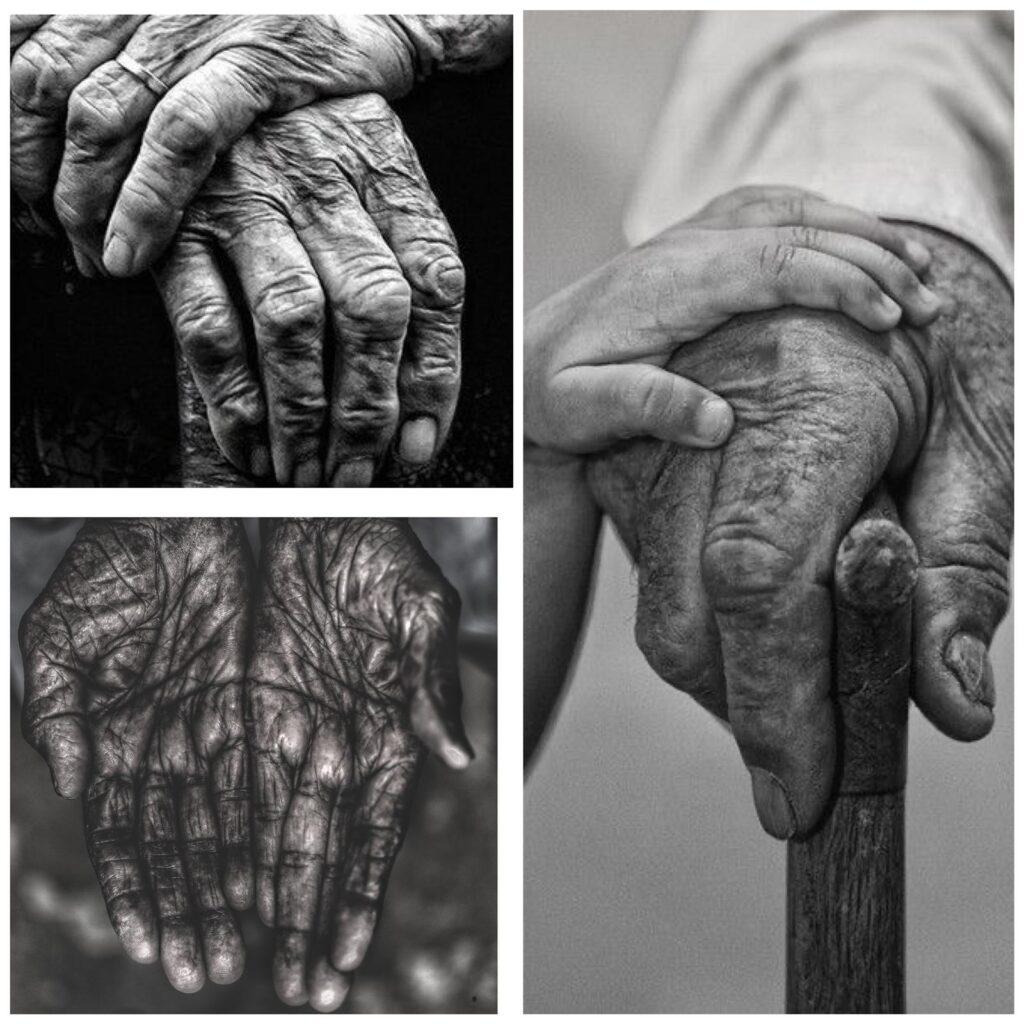 3 in 1 foto met handen van ouderen mensen. 1 kinderhand houdt de hand vast van een oudere